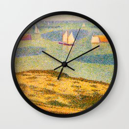 Port-en-Bessin Entrance to the Outer Harbor Georges Seurat - 1888 Impressionism Modern Populism Oil Wall Clock