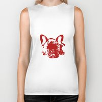 frenchie Biker Tanks featuring Frenchie by Red Eyes Apparel