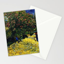 Avenue with Flowering Chestnut Trees, Paris, France by Vincent van Gogh Stationery Cards