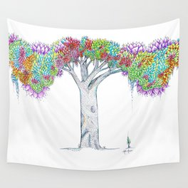 Rainbow Tree Huia Art Wall Tapestry