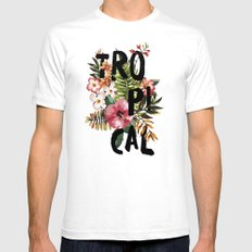 Tropical I White SMALL Mens Fitted Tee