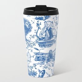 """Zelda """"Hero of Time"""" Toile Pattern - Zora's Sapphire Travel Mug"""