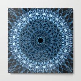 Dark blue and white mandala Metal Print
