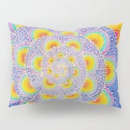 Rainbow Mandala Colorful Psychedelic Trippy Spiral Tapestry Painting Batik (Triametes Versicolor) Pillow Sham