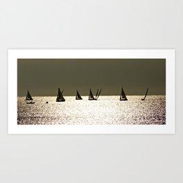 Sailboats at Dusk Art Print