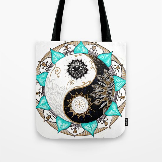 Yin and Yang Mandala Tote Bag