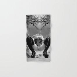 7034-TT Desert Domination BW IR Art Nude In Black Leather Corset Thigh High Boots Hand & Bath Towel