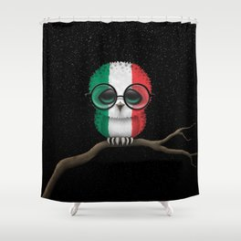 Baby Owl with Glasses and Italian Flag Shower Curtain