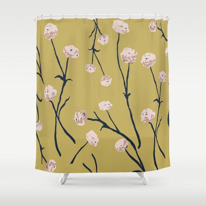 Dandelions on Ochre Shower Curtain
