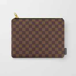 Brown Tan Checkered Pattern Carry-All Pouch