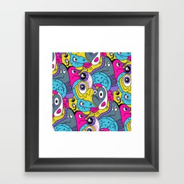Idiot Bird Pattern Framed Art Print