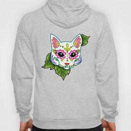 White Cat - Day of the Dead Sugar Skull Kitty Hoody