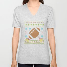 American Football Christmas Ugly Shirt Sweater Ugly Design Unisex V-Neck