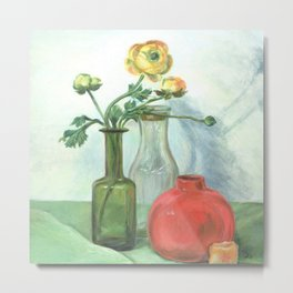 Still life with Buttercup and glass bottles Metal Print