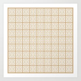 Tan Brown Greek Key Pattern Art Print