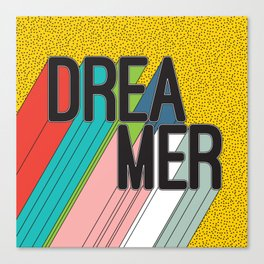 Dreamer Typography Color Poster Dream Imagine Canvas Print