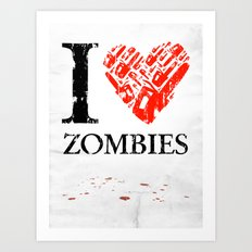 I Love Zombies (I love New York parody) Chainsaw Art Print