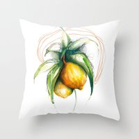 lemon Throw Pillows featuring Lemon by Alejandra Lara