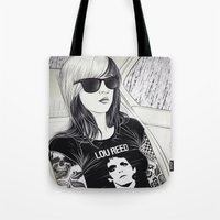 lou reed Tote Bags featuring Lou Reed by IvándelgadoART