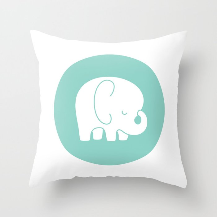 Mod Baby Elephant Teal Throw Pillow