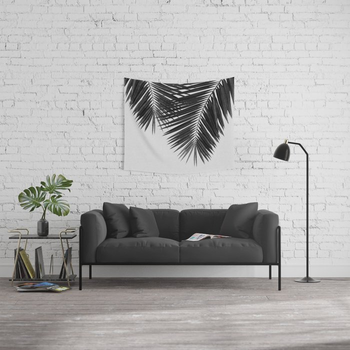 Palm Leaf Black & White II Wall Tapestry