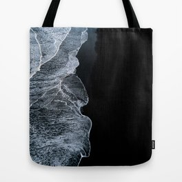 Waves on a black sand beach in iceland - minimalist Landscape Photography Tote Bag