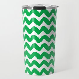 Green Brushstroke Chevron Pattern Travel Mug