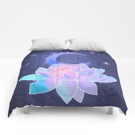 moon lotus flower Comforters