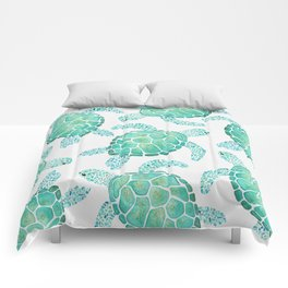 Sea Turtle Pattern - Blue Comforters