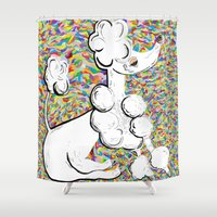 poodle Shower Curtains featuring White Poodle by EloiseArt