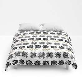 Black white faux gold watercolor hand painted scandinavian Comforters