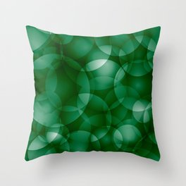 Dark intersecting green translucent circles in bright colors with a grassy glow. Throw Pillow