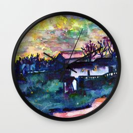 Winter  Farm Wall Clock