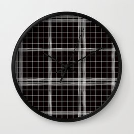 Back to School- Simple Handdrawn Grid Pattern- Black & White- Mix & Match with Simplicity of Life Wall Clock