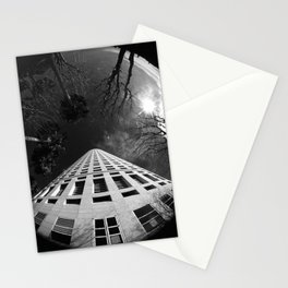 Fish eye view of beer can building Stationery Cards