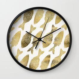Indonesian Fish Duo – Gold Palette Wall Clock