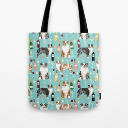 Australian Shepherd blue and red merle wine cocktails yappy hour pattern dog breed Tote Bag