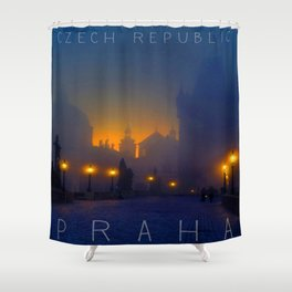 Prague, vintage poster Shower Curtain