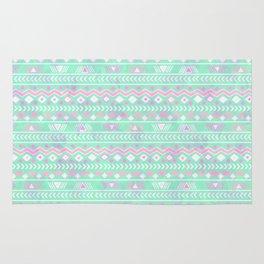Pink teal watercolor tribal geometrical pattern Rug