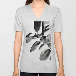 Ficus Elastica Black Gray White Vibes #1 #foliage #decor #art #society6 Unisex V-Neck