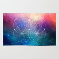 sacred geometry Area & Throw Rugs featuring Sacred Geometry Universe by Nick Kask Design Co