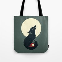 red hood Tote Bags featuring Little Red Riding Hood by Freeminds