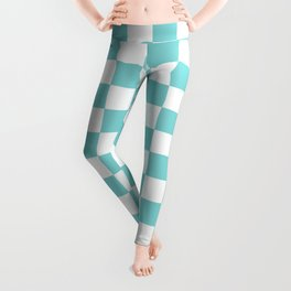 Gingham Pale Turquoise Checked Pattern Leggings