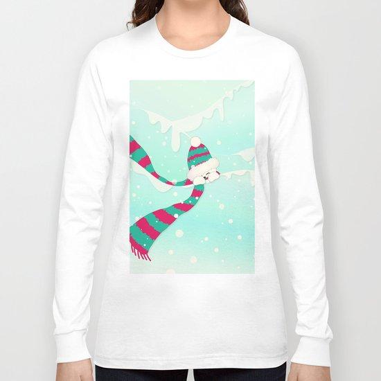 Christmas Peekaboo Snowman I - Mint Blue Snowy Background Long Sleeve T-shirt