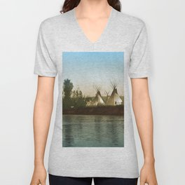 Crow Indian Camp on the Rivers Edge Unisex V-Neck