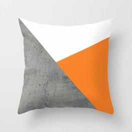 Concrete Tangerine White Throw Pillow