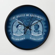 Pillowtown vs Blanketsburg Wall Clock