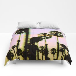 California Dreaming Palm Trees Sunset Comforters