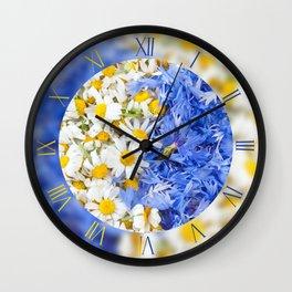 Blue cornflowers and white chamomiles Wall Clock