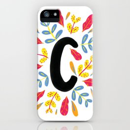 Letter 'C' Initial/Monogram With Bright Leafy Border iPhone Case